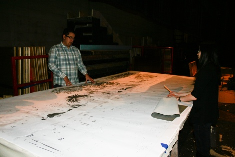 Photo of printed outline of the Late Eocene mural